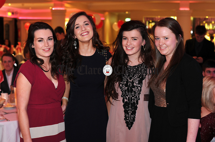 Amy Pyne, Muireann Cotter, Karen Woods and Niamh Crowe pictured during Éire Óg GAA's medal presentation night at the Auburn Lodge Hotel in Ennis. Photograph by Declan Monaghan