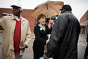 November 4, 2008. Raleigh, NC.. As voters hit the polls in the heavily contested state of North Carolina, turnout was high, even given the rainy weather throughout the state.. Democratic candidate for US Senate, Kay Hagan, center, was out in the Triangle area meeting voters, hoping to solidify her victory over incumbent Republican Senator Elizabeth Dole.