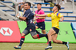Muhammad Azwan Zuwairi Bin Mat Zizi (l) of Malaysia battles for the ball against Baramee Thaiset of Thailand  during the match between Malaysia and Thailand of the Asia Rugby U20 Sevens Series 2016 on 12 August 2016 at the King's Park, in Hong Kong, China. Photo by Marcio Machado / Power Sport Images