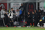 Aaron Ramsey of Juventus kicks a drinks box in anger after being substituted for Rodrigo Bentancur during the Coppa Italia match at Giuseppe Meazza, Milan. Picture date: 13th February 2020. Picture credit should read: Jonathan Moscrop/Sportimage
