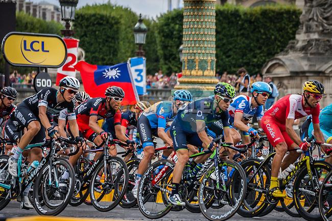 Peloton with Giovanni Visconti (ITA) of Movistar Team, Tour de France, Stage 21: Évry > Paris Champs-Élysées, UCI WorldTour, 2.UWT, Paris Champs-Élysées, France, 27th July 2014, Photo by Pim Nijland
