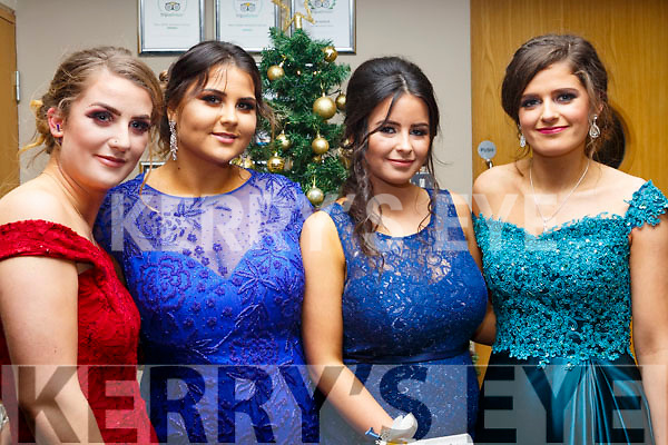 Attending the Gaelcholáiste Chiarrai Debs in the Ballyroe Heights Hotel on Tuesday night last, l to r, Caemahe Ni Mhuirean  (Tralee), Vanessa Piwowarczyk (Tralee), Shauna Ni Mhuircheartaigh (Tralee) and Niamh Curtain (Ballymac).