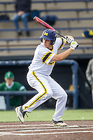 Michigan Wolverines outfielder Carmen Benedetti (43) at bat against the Eastern Michigan Hurons on May 3, 2016 at Ray Fisher Stadium in Ann Arbor, Michigan. Michigan defeated Eastern Michigan 12-4. (Andrew Woolley/Four Seam Images)