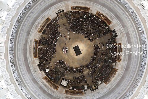 The casket carrying the late U.S. Sen. John McCain, R-Ariz., is carried into the U.S. Capitol Rotunda Friday, Aug. 31, 2018, in Washington. (Pool photo by Morry Gash via AP)