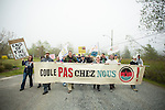 The group from Quebec, Coule Pas Chez Nous, marches in solidarity with the residents of Red Head, Saint John. On May 30, 2015, over 500 Canadian citizens and First Nations marched in Red Head, Saint John, at the End of the Line for the proposed Energy East pipeline. The people were protesting the proposed mega pipeline and the tank terminal that would destroy and the Red Head community and endanger the Bay of Fundy. If approved, TransCanada's Energy East pipeline would travel 4600km from Alberta to Saint John, New Brunswick, shipping 1.1 million barrels of crude oil and bitumen for export through the Bay of Fundy, a critical habit for Right whales and home to thousands of jobs in Tourism and Fishing.