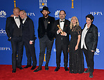 Stellan Skarsgård, Johan Renck, Jared Harris, Jane Featherstone, Carolyn Strauss, Craig Mazin 153 poses in the press room with awards at the 77th Annual Golden Globe Awards at The Beverly Hilton Hotel on January 05, 2020 in Beverly Hills, California.