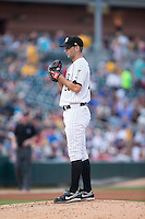 Charlotte Knights starting pitcher Jacob Turner (28) looks to his catcher for the sign against the Lehigh Valley Iron Pigs at BB&T BallPark on June 3, 2016 in Charlotte, North Carolina.  The Iron Pigs defeated the Knights 6-4.  (Brian Westerholt/Four Seam Images)