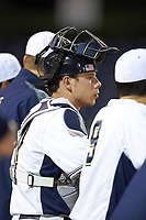 Pitt Panthers catcher Alex Griffith (17) during a game against the Ohio State Buckeyes on February 20, 2016 at Holman Stadium at Historic Dodgertown in Vero Beach, Florida.  Ohio State defeated Pitt 11-8 in thirteen innings.  (Mike Janes/Four Seam Images)