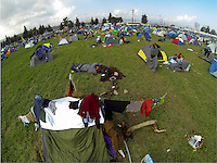 Pictured: General view of the camp Tuesday 01 March 2016<br />Re: Thousands of migrants, still stranded at the Greek FYRO Macedonian border in Idomeni, Greece