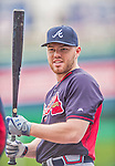 4 April 2014: Atlanta Braves first baseman Freddie Freeman awaits his turn in the batting cage prior to the Washington Nationals Home Opening Game at Nationals Park in Washington, DC. The Braves edged out the Nationals 2-1 in their first meeting of the 2014 MLB season. Mandatory Credit: Ed Wolfstein Photo *** RAW (NEF) Image File Available ***