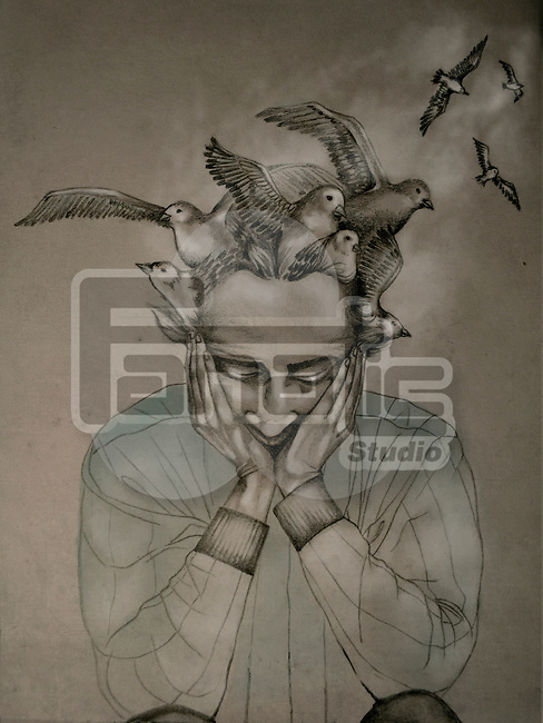 Birds flying from head of a man depicting Alzheimer's disease