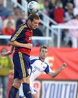 Kenny Deuchar and Michael Harringtonin the 0-0 draw at Rice Eccles Stadium in Salt Lake City, Utah on  June 7, 2008.
