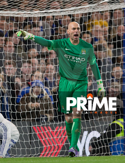 Goalkeeper Wilfredo Caballero of Man City gives instructions during the FA Cup 5th round match between Chelsea and Manchester City at Stamford Bridge, London, England on 21 February 2016. Photo by Andy Rowland.