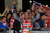 18th March 2018, Losail International Circuit, Lusail, Qatar; Qatar Motorcycle Grand Prix, Sunday race day; Andrea Dovizioso (Ducati) celebrates his win