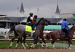April 28, 2019 : Trainer Bill Mott's horses Tacitus (foreground) and Country House train at Churchill Downs, Louisville, Kentucky, in preparation for the Kentucky Derby. Mary M. Meek/ESW/CSM