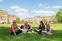 Students enjoy a nice day of Spring at the Drill Field.<br />  (photo by Marco Lopez / &copy; Mississippi State University)