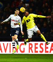 Preston North End's Brandon Barker competes with Blackburn Rovers' Ryan Nyambe in the air <br /> <br /> Photographer Richard Martin-Roberts/CameraSport<br /> <br /> The EFL Sky Bet Championship - Preston North End v Blackburn Rovers - Saturday 24th November 2018 - Deepdale Stadium - Preston<br /> <br /> World Copyright © 2018 CameraSport. All rights reserved. 43 Linden Ave. Countesthorpe. Leicester. England. LE8 5PG - Tel: +44 (0) 116 277 4147 - admin@camerasport.com - www.camerasport.com