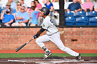 Pulaski Yankees designated hitter Evan Alexander (58) swings at a pitch during a game against the Johnson City Cardinals at TVA Credit Union Ballpark on July 7, 2018 in Johnson City, Tennessee. The Cardinals defeated the Yankees 7-3. (Tony Farlow/Four Seam Images)
