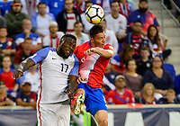 Harrison, N.J. - Friday September 01, 2017:   Jozy Altidore, Bryan Oviedo during a 2017 FIFA World Cup Qualifying (WCQ) round match between the men's national teams of the United States (USA) and Costa Rica (CRC) at Red Bull Arena.