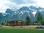 Elk Run Encore residential houses summer scenery in Canmore, town in Alberta's Rockies with Rocky mountains and beautiful nature in the background. Canmore, Alberta, Canada. 2017