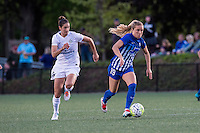 Allston, MA - Sunday, May 22, 2016: FC Kansas City midfielder Yael Averbuch (10) and Boston Breakers midfielder Kristie Mewis (19) during a regular season National Women's Soccer League (NWSL) match at Jordan Field.