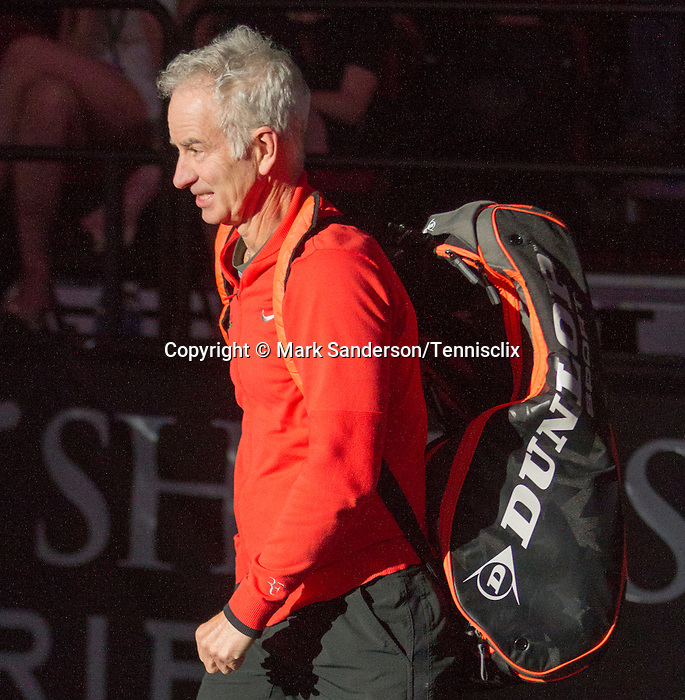 John McEnroe (USA) defeats Todd Martin (USA) 6-3,  at the PowerShares Champions Cup, in Boston, Massachusetts on April 22, 2015.