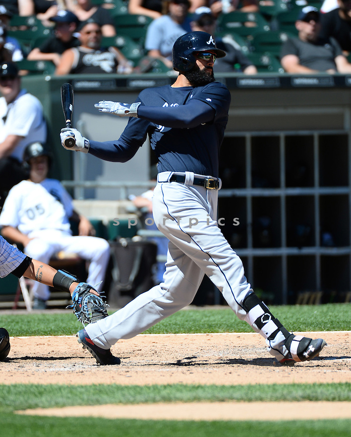 Atlanta Braves Nick Markakis (22) during a game against the Chicago White Sox on July 9, 2016 at US Cellular Field in Chicago, IL. The White Sox beat the Braves 5-4.