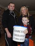 Sean Keenan pictured with his parents Pat and Jenny at the tea for diabetes day in Ardee. Photo: Colin Bell/pressphotos.ie