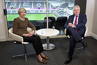 (L-R) British Prime Minister Theresa May with First Minister for Wales Carwyn Jones, after signing the Swansea Bay City Region deal, at the Liberty Stadium, Swansea, Wales, UK. Monday 20 March 2017.