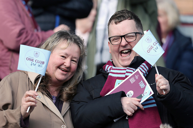 Burnley fans celebrate at the final whistle<br /> <br /> Photographer Rich Linley/CameraSport<br /> <br /> The Premier League - Burnley v Wolverhampton Wanderers - Saturday 30th March 2019 - Turf Moor - Burnley<br /> <br /> World Copyright © 2019 CameraSport. All rights reserved. 43 Linden Ave. Countesthorpe. Leicester. England. LE8 5PG - Tel: +44 (0) 116 277 4147 - admin@camerasport.com - www.camerasport.com
