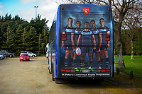 The St Peter's team bus waits in the carpark during the 2017 1st XV rugby Top Four co-ed semfinal between Rangitoto College and Feilding High School at Sports and Rugby Institute in Palmerston North, New Zealand on Friday, 8 September 2017. Photo: Dave Lintott / lintottphoto.co.nz