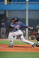 GCL Twins right fielder Alberoni Nunez (31) flies out during a game against the GCL Rays on August 9, 2018 at Charlotte Sports Park in Port Charlotte, Florida.  GCL Twins defeated GCL Rays 5-2.  (Mike Janes/Four Seam Images)