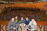 PLAYERS: Kerry Football players who broughtb the Sam Maguir Cup toi the Green School on Friday Morning , Michea?l Quirke, David Moran, Mark O Se?, Barry John and Tommy Walsh..