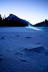 Steam rises off the Bow River in Banff National Park