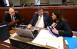 Nevada Assembly members, from left, Jim Wheeler, R-Minden, James Oscarson, R-Pahrump, and Teresa Benitez Thompson, D-Reno, work on the Assembly floor at the Legislative Building in Carson City, Nev., on Friday, April 17, 2015.<br /> Photo by Cathleen Allison