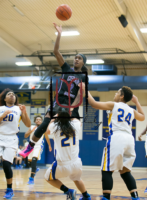 Cedar Ridge's Brianna<br /> McClure attempts a basket against Pflugerville Friday at Panther Gym.  The Raiders rolled the Panthers 64-39.  (LOURDES M SHOAF for Round Rock Leader.)