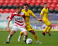 Doncaster Rovers' Herbie Kane is pressured by Fleetwood Town's Ross Wallace<br /> <br /> Photographer David Shipman/CameraSport<br /> <br /> The EFL Sky Bet League One - Doncaster Rovers v Fleetwood Town - Saturday 6th October 2018 - Keepmoat Stadium - Doncaster<br /> <br /> World Copyright © 2018 CameraSport. All rights reserved. 43 Linden Ave. Countesthorpe. Leicester. England. LE8 5PG - Tel: +44 (0) 116 277 4147 - admin@camerasport.com - www.camerasport.com