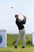 Shaun Carter (Stackstown) on the 1st tee during Round 1 of the Irish Amateur Close Championship at Seapoint Golf Club on Saturday 7th June 2014.<br /> Picture:  Thos Caffrey / www.golffile.ie