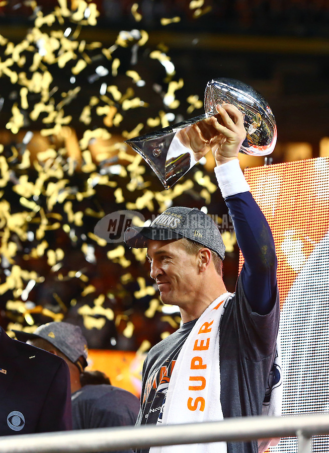 Feb 7, 2016; Santa Clara, CA, USA; Denver Broncos quarterback Peyton Manning (18) hoists the Vince Lombardi Trophy as he celebrates after defeating the Carolina Panthers in Super Bowl 50 at Levi's Stadium. Mandatory Credit: Mark J. Rebilas-USA TODAY Sports