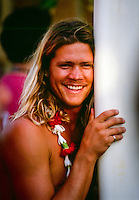 Brad Gerlach (USA) at the opening ceremony of the Quiksilver Eddie Aikau Big Wave Invitational at Waimea Bay, North Shore Oahu Hawaii  circa 1990 Photo: joliphotos.com