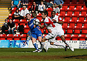 Joel Byrom of Stevenage Borough scores the second goal during the Blue Square Premier match between Kidderminster Harriers and Stevenage Borough at the Aggborough Stadium, Kidderminster on Saturday 17th April, 2010..© Kevin Coleman 2010