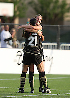 Leigh Ann Robinson (7) is congratulated by Adriane after scoring the winning goal against Sky Blue FC, at Buck Shaw Stadium, in Santa Clara, Calif., Sunday, May 3, 2009.