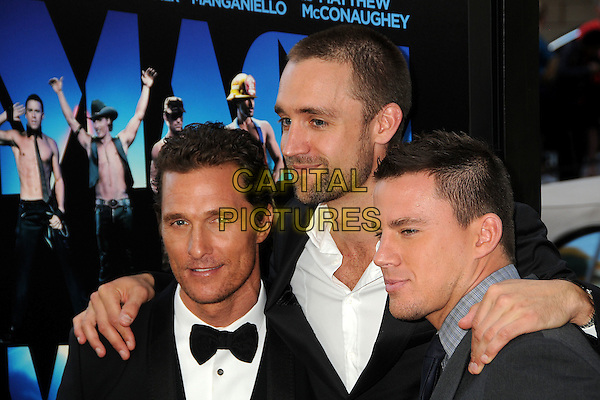 "Matthew McConaughey, Reid Carolin, Channing Tatum.""Magic Mike"" Los Angeles Film Festival 2012 Premiere held at Regal Cinemas LA Live, Los Angeles, California, USA..June 24th, 2012.headshot portrait tuxedo black white bow tie blue shirt hands on shoulder stubble facial hair beard.CAP/ADM/BP.©Byron Purvis/AdMedia/Capital Pictures."