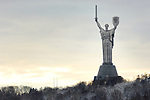 Travel stock photo of Mother Land statue of liberty and peace in Kiev Ukraine Wintertime scenic