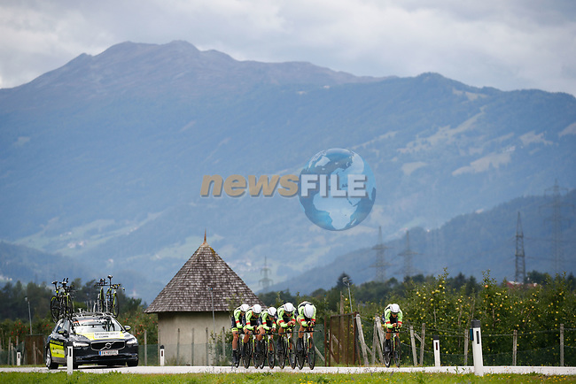 Tirol Cycling Team power off the start ramp during the Men's Elite Team Time Trial of the 2018 UCI Road World Championships running 62.8km from Ötztal to Innsbruck, Innsbruck-Tirol, Austria 2018. 23rd September 2018.<br /> Picture: Innsbruck-Tirol 2018/BettiniPhoto | Cyclefile<br /> <br /> <br /> All photos usage must carry mandatory copyright credit (© Cyclefile | Innsbruck-Tirol 2018/BettiniPhoto)