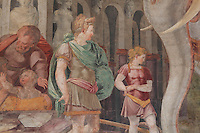 Detail from the Royal Elephant fresco, showing  Jupiter in green and Mars in red, by Rosso Fiorentino, 1535-37, in the Galerie Francois I, begun 1528, the first great gallery in France and the origination of the Renaissance style in France, Chateau de Fontainebleau, France. The Palace of Fontainebleau is one of the largest French royal palaces and was begun in the early 16th century for Francois I. It was listed as a UNESCO World Heritage Site in 1981. Picture by Manuel Cohen