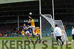 Alan Armstrong of Leitrim rises to clear the ball as Killian Spillane of Kerry looks on. All Ireland Junior Championship Semi-Final, Kerry V Leitrim. 22/07/2017. Gaelic Grounds, Limerick, Co Limerick.