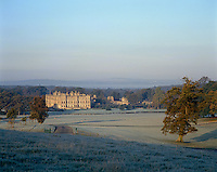 A view of Longleat from across the park on a frosty morning