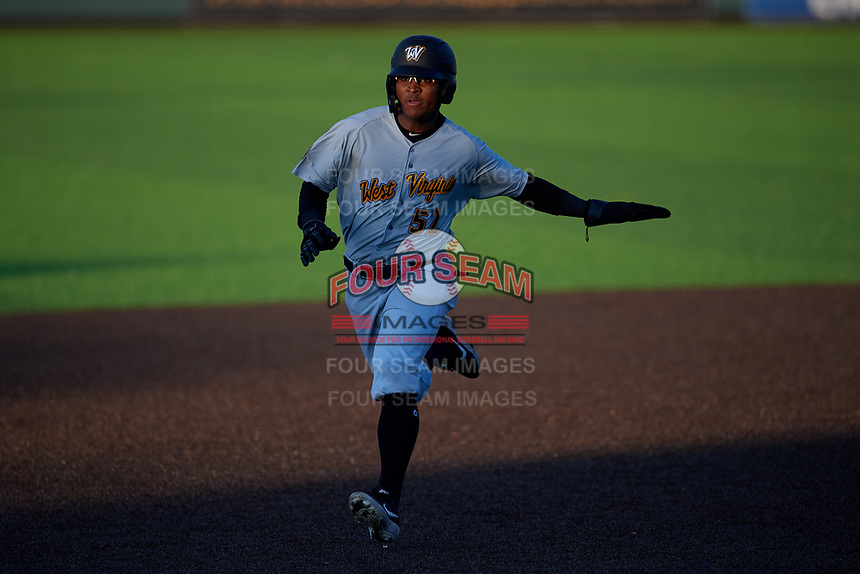 West Virginia Black Bears Matthew Fraizer (52) running the bases during a NY-Penn League game against the Auburn Doubledays on August 23, 2019 at Falcon Park in Auburn, New York.  West Virginia defeated Auburn 8-1, the first game of a doubleheader.  (Mike Janes/Four Seam Images)