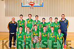 The victorious South - West Region Boys team who defeated the Midlands Region in the Cambell Plate Final of the Basketball Ireland Post Primary Schools <br /> Inter-Regionals in Galway on Sunday last <br /> Front Row Ronan Collins, Paul O&rsquo;Leary, Donal O&rsquo;Geibheannaigh, (Captain) Nathan Moore, Gary O&rsquo;Sullivan, and Lorcan Keane<br /> Back Row Jim Hughes, Manager, Daire Kennelly, Ronan Gregan, Oliver Harte, Aaron Fleming, James Fernane, Padraig Fleming and John Dowling (Coach) <br /> (Missing from photo is David Gleeson who was injured for the final)